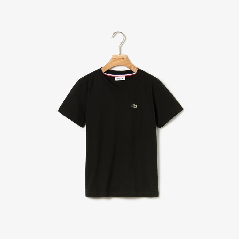 Lacoste Çocuk Siyah V Yaka T-Shirt
