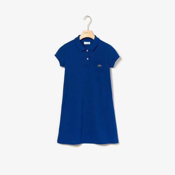 Lacoste Çocuk Polo Yaka Mavi Elbise