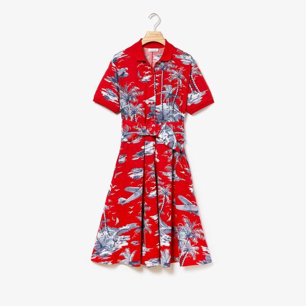 Lacoste Kadın Polo Yaka Kırmızı Elbise