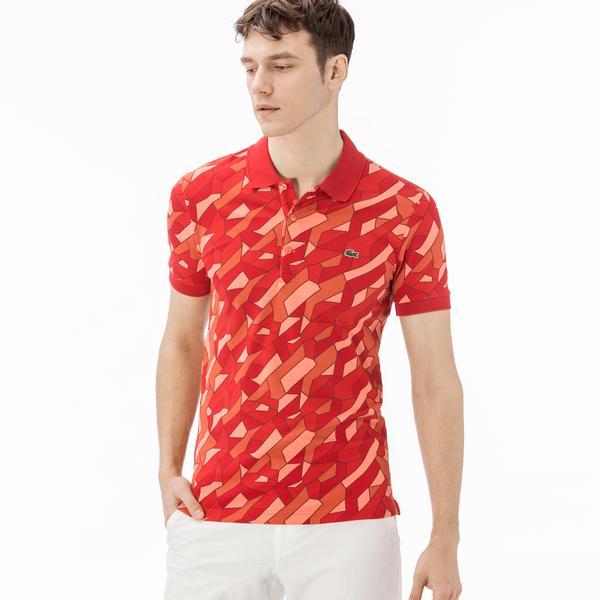 Lacoste Erkek Slim Fit Desenli Kırmızı Polo
