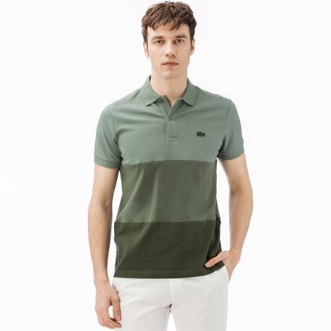 Lacoste Erkek Regular Fit Blok Desenli Yeşil Polo
