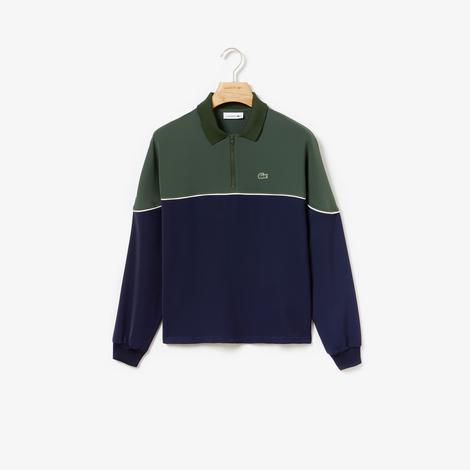 Lacoste Kadın Blok Desenli Yeşil-Mavi Sweatshirt