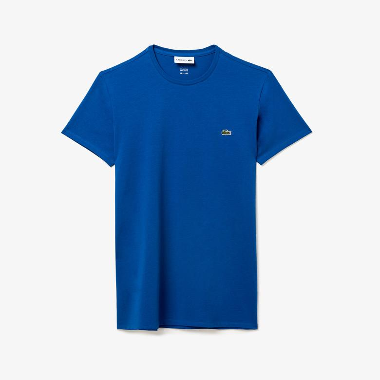 Lacoste Erkek Slim Fit Bisiklet Yaka Mavi T-Shirt