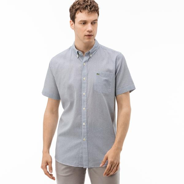 Lacoste Erkek Regular Fit Kısa Kollu Pamuklu Gri Gömlek