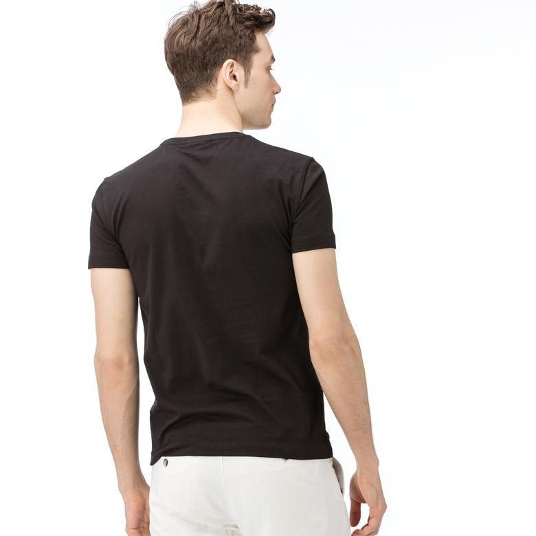 Lacoste Erkek Desenli Siyah T-Shirt