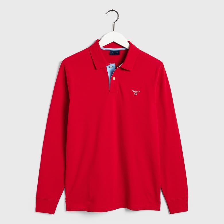 Gant Erkek Uzun Kollu Kırmızı Pique Polo