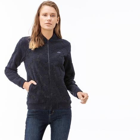 Lacoste Kadın Fermuarlı Desenli Lacivert Sweatshirt