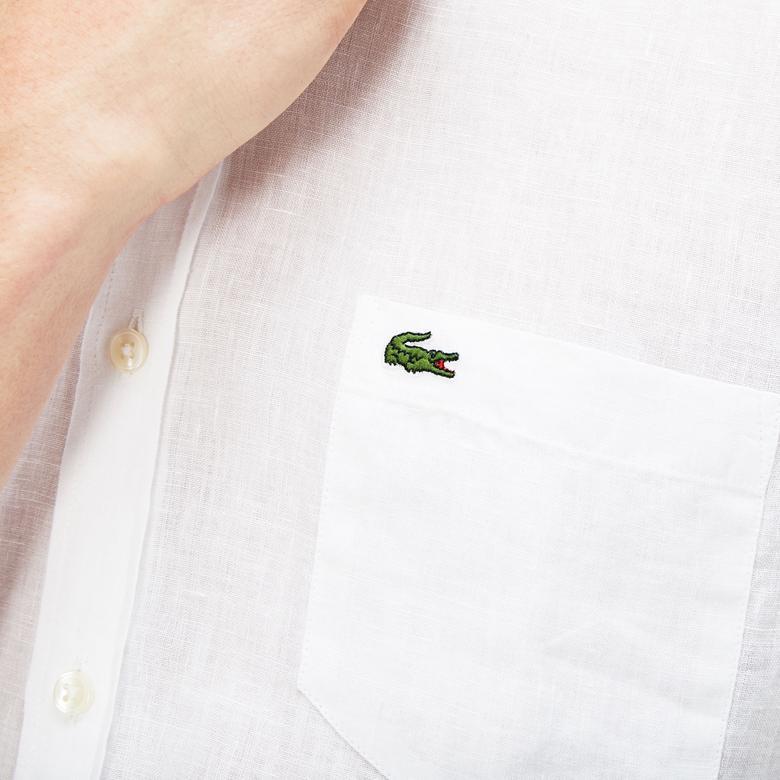Lacoste Erkek Regular Fit Keten Kısa Kollu Beyaz Gömlek