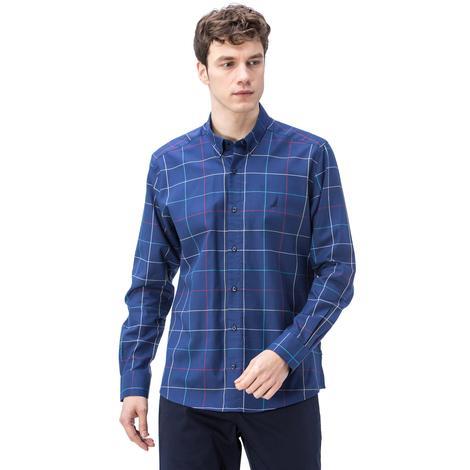 Nautica Erkek Mavi Ekoseli Uzun Kollu Slim Fit Gömlek