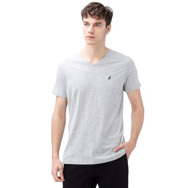 Nautica Erkek Gri Kısa Kollu V Yaka Flamlı Slim Fit T-Shirt