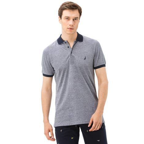 Nautica Erkek Lacivert-Gri Kısa Kollu Slim Fit Polo