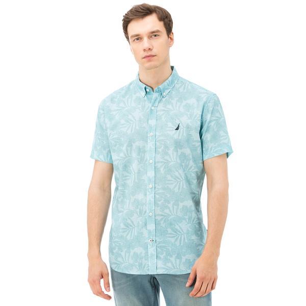 Nautica Erkek Mavi Kısa Kollu Keten Gömlek
