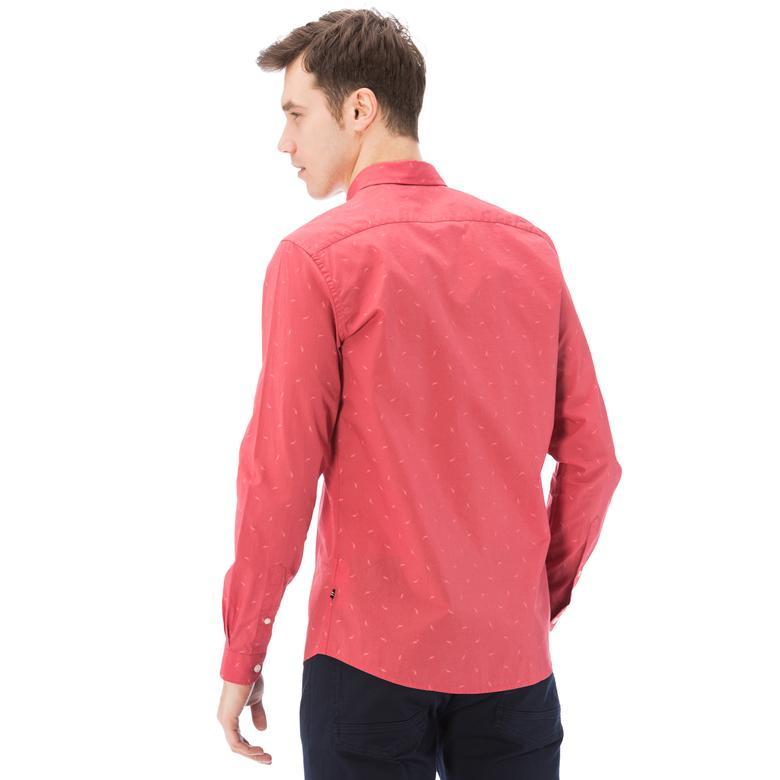 Nautica Erkek Kırmızı Uzun Kollu Slim Fit Gömlek