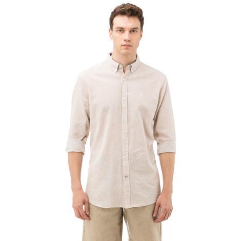 Nautica Erkek Bej Uzun Kollu Çizgili Keten Slim Fit Gömlek