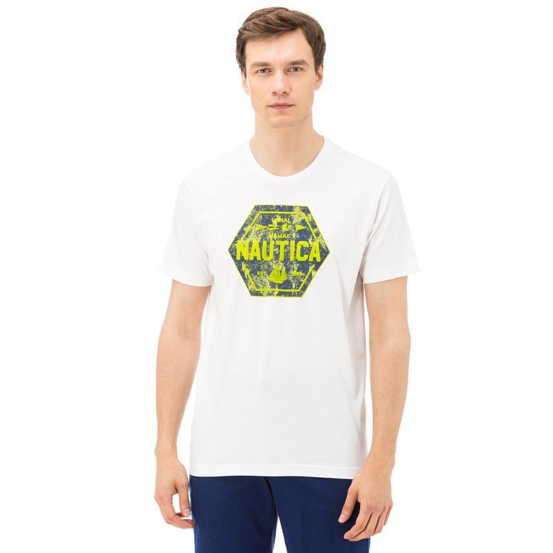 Nautica Erkek Beyaz Bisiklet Yaka Kısa Kollu Slim Fit T-Shirt