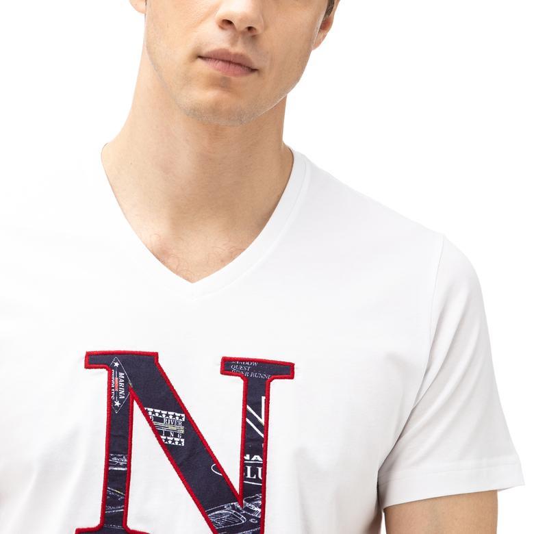 Nautica Erkek Beyaz Kısa Kollu Slim Fit T-Shirt