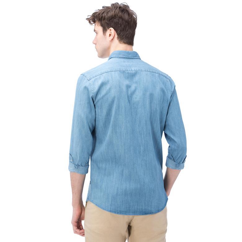 Nautica Erkek Mavi Uzun Kollu Denım Slim Fit Gömlek