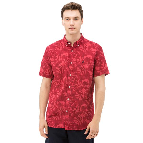 Nautica Erkek Kırmızı Kısa Kollu Keten Gömlek