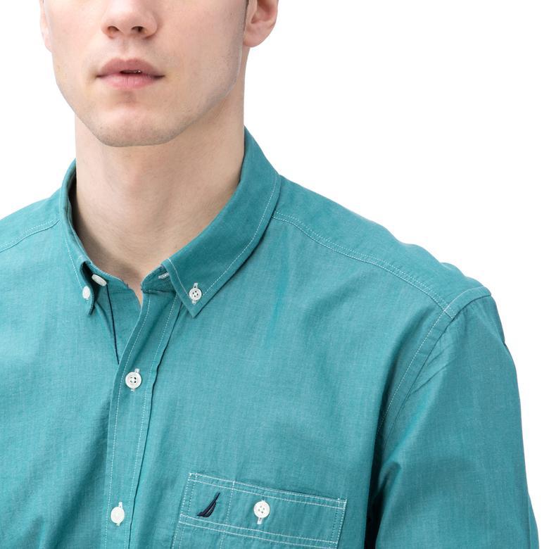 Nautica Erkek Yeşil Uzun Kollu Slim Fit Gömlek