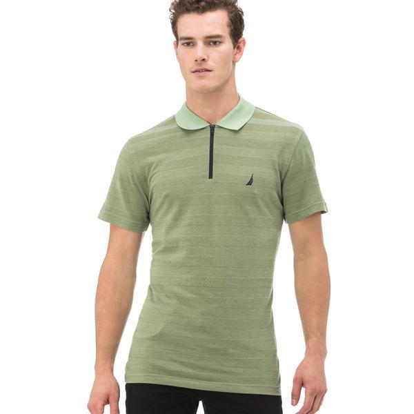 Nautica Erkek Yeşil Çizgili Fermuarlı Kısa Kollu Slim Fit Polo