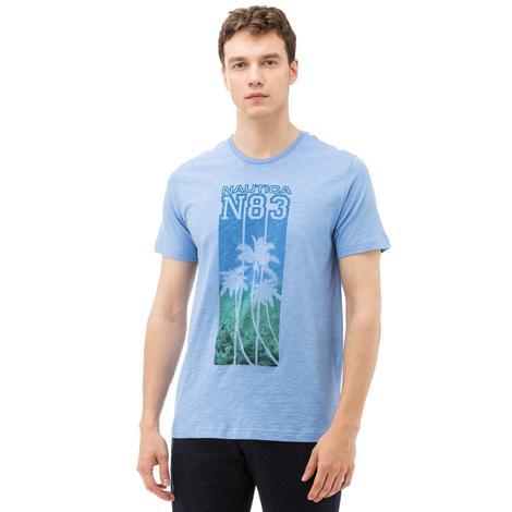 Nautica Erkek Mavi Bisiklet Yaka Kısa Kollu Slim Fit T-Shirt