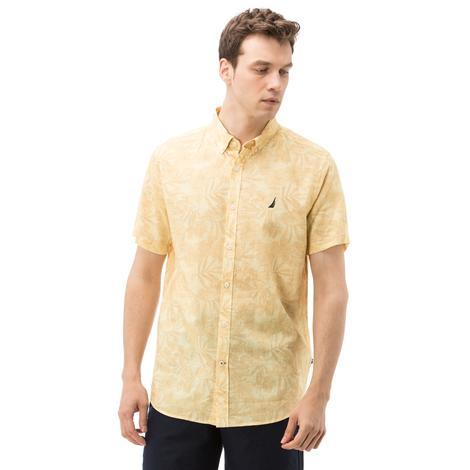 Nautica Erkek Sarı Kısa Kollu Keten Gömlek