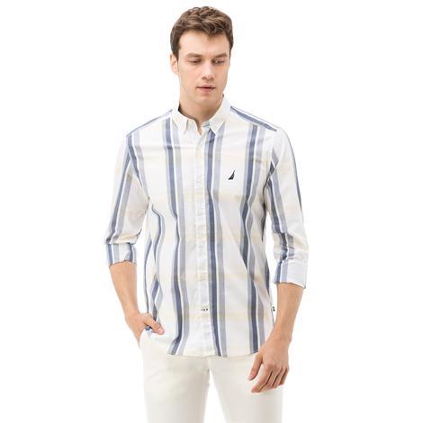 Nautica Erkek Sarı Ekoseli Uzun Kollu Slim Fit Gömlek