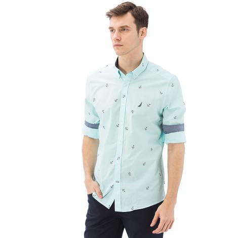 Nautica Erkek Mavi Uzun Slim Fit Gömlek