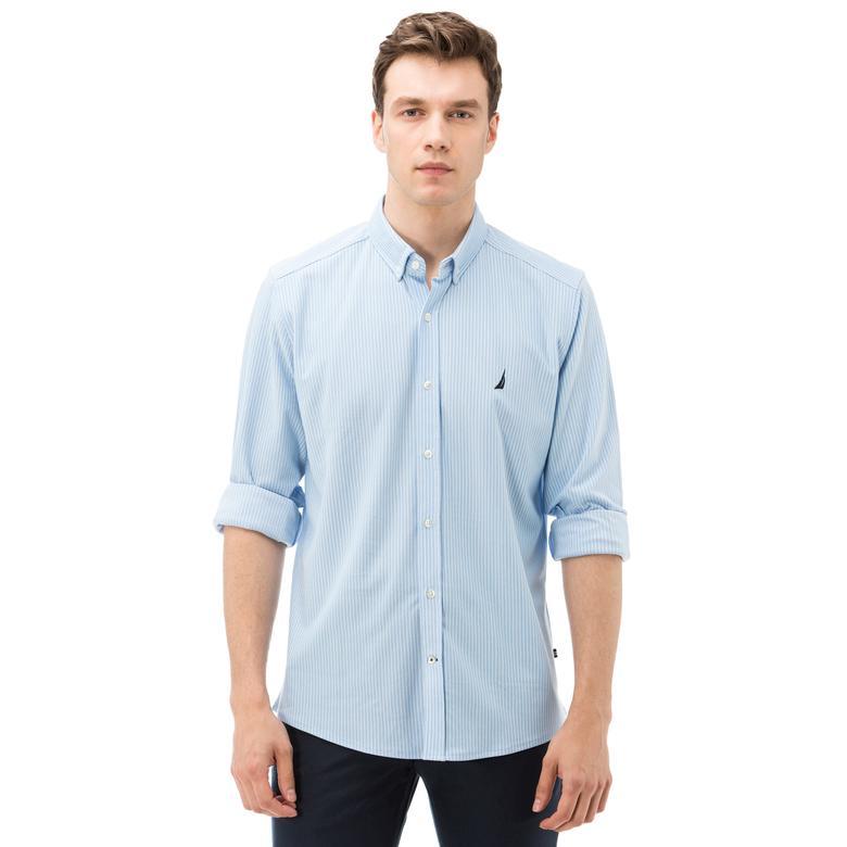 Nautica Erkek Mavi Uzun Kollu Çizgili Slim Fit Gömlek