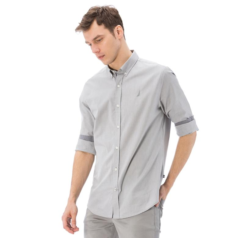 Nautica Erkek Gri Uzun Kollu Oxford Slim Fit Gömlek