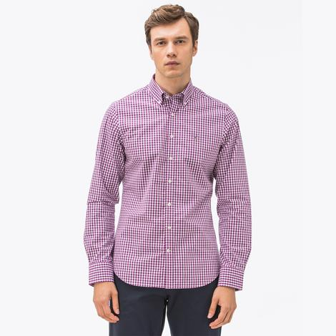 Gant Erkek Mor Kareli Slim fit Gömlek