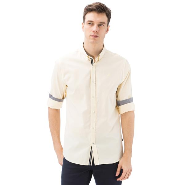 Nautica Erkek Sarı Uzun Kollu Oxford Slim Fit Gömlek