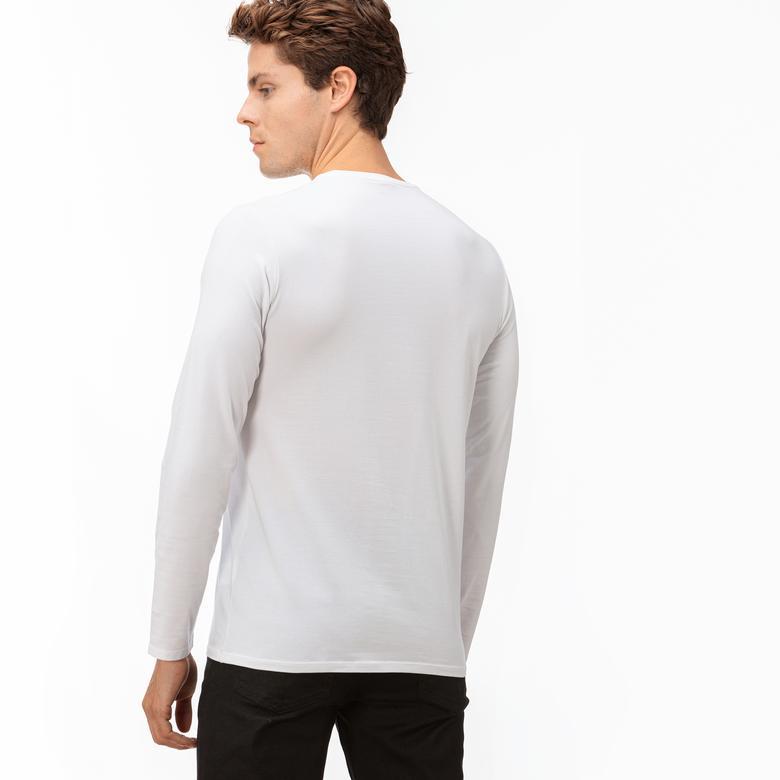 Lacoste Erkek Uzun Kollu Beyaz T-Shirt
