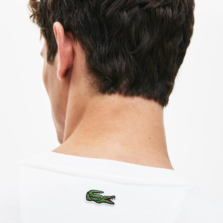 Lacoste Erkek Regular Fit Baskılı Beyaz T-Shirt