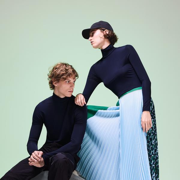 Lacoste Fashion Show Unisex Boğazlı Lacivert Uzun Kollu T-Shirt