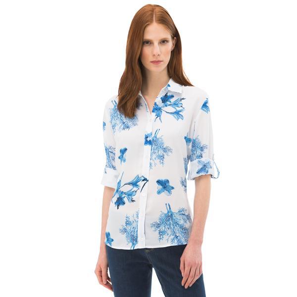 Nautica Kadın Beyaz Uzun Kollu Slim Fit Gömlek