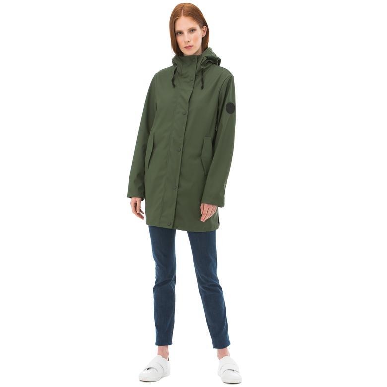 Nautica Kadın Yeşil Kapüşonlu Yağmurluk