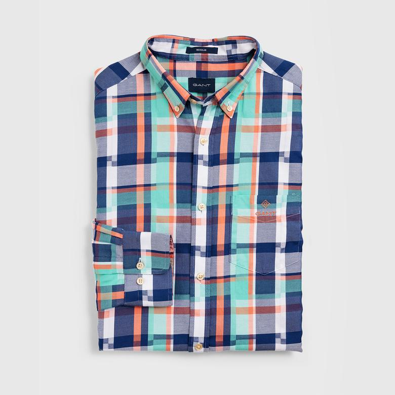 Gant Erkek Yeşil Regular Fit Madras Irregular Gömlek