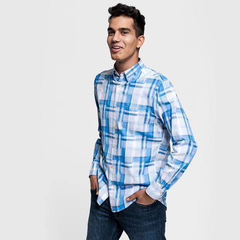 Gant Erkek Mavi Regular Fit Madras Irregular Gömlek