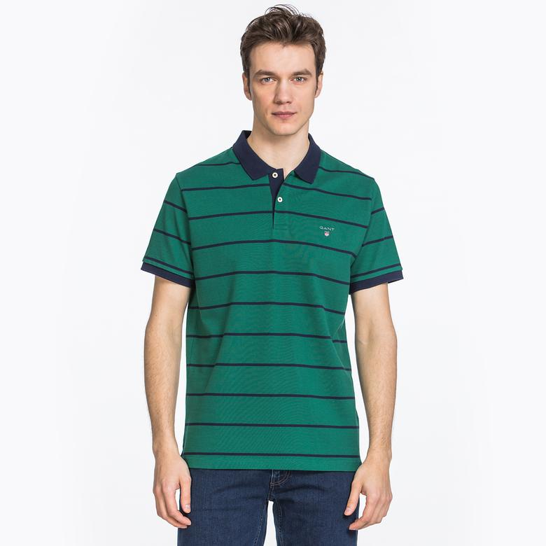Gant Erkek Yeşil Regular Fit Çizgili Piqué Rugger Polo