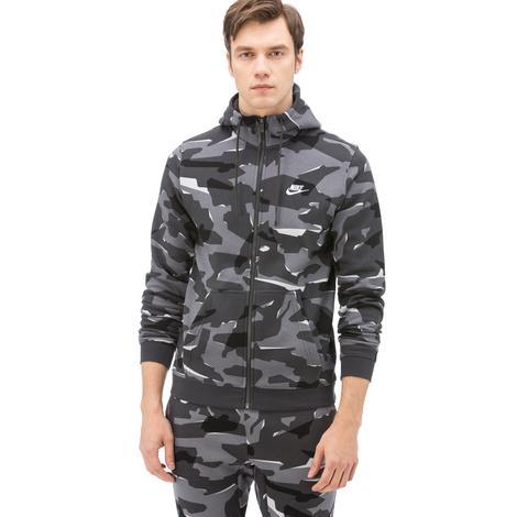Nike Sportswear Club Camo Hoodie Erkek Gri Sweatshirt