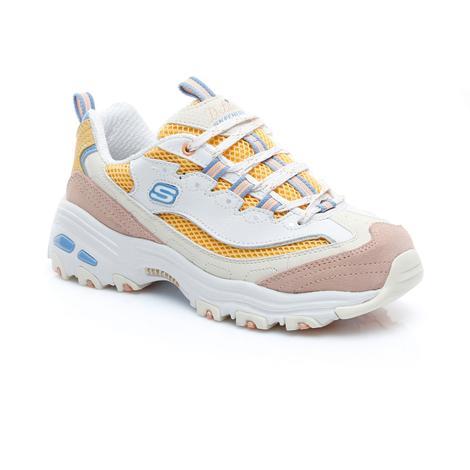 Skechers D'Lites-Second Chance Kadın Beyaz-Sarı Spor Ayakkabı