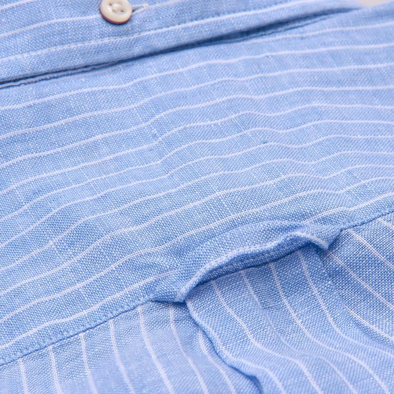 Gant Erkek Mavi Çizgili Regular Keten Gömlek