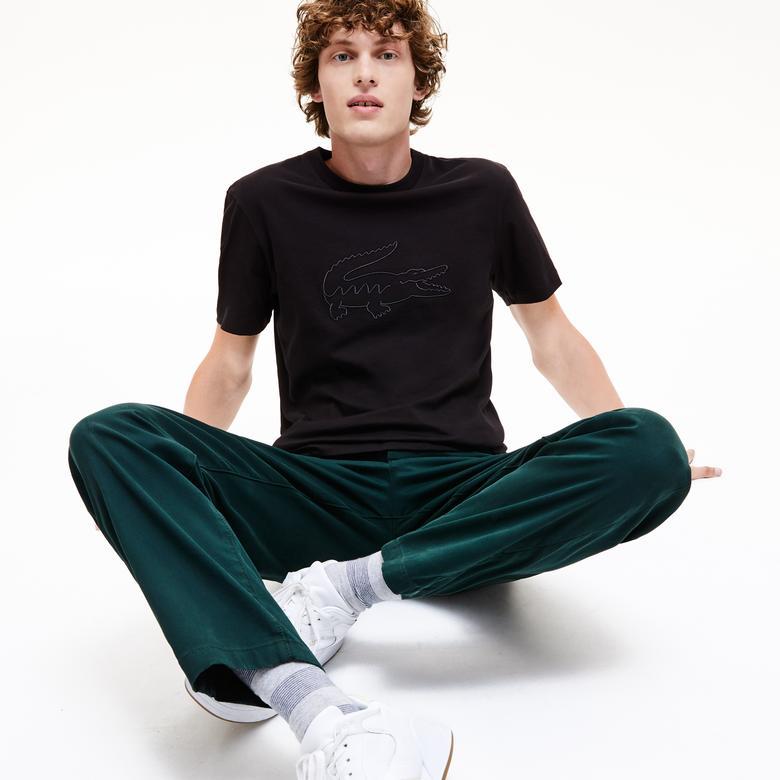 Lacoste Erkek Regular Fit Timsah Baskılı Siyah T-Shirt