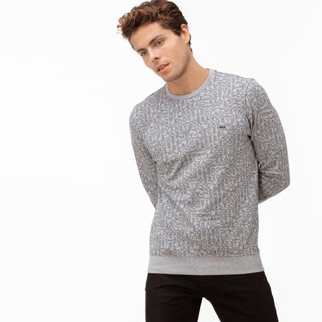Lacoste Erkek Baskılı Gri Sweatshirt
