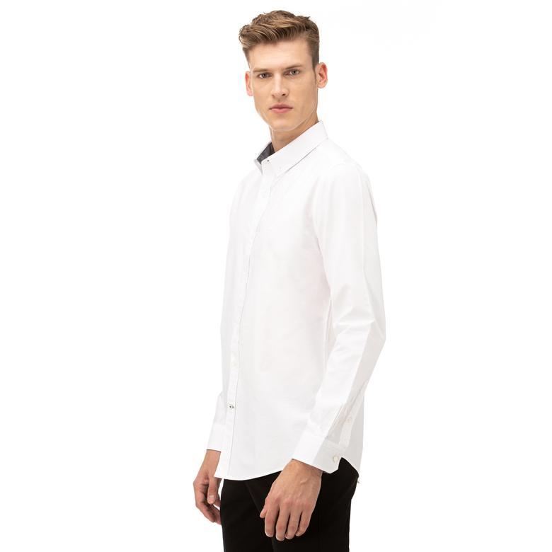Nautica Erkek Slim Fit Düğmeli Yaka Beyaz Gömlek