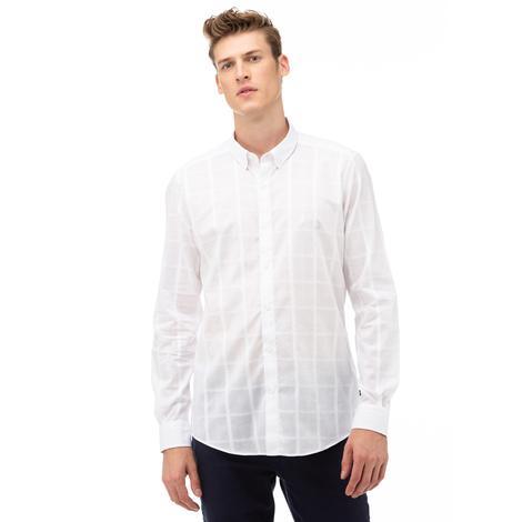 NAUTICA Erkek Beyaz Slim Fit Düğmeli Yaka Kareli Gömlek