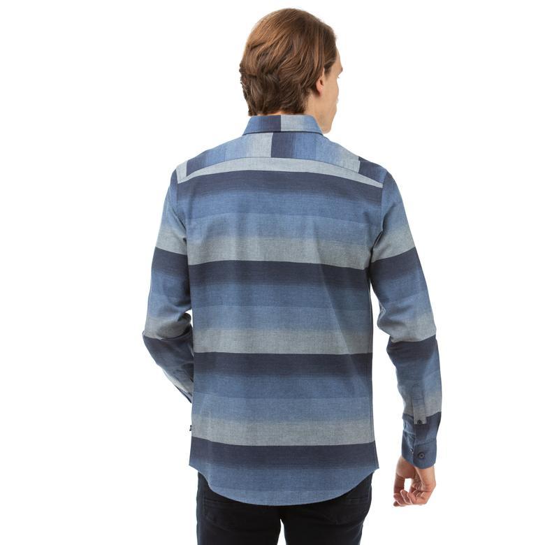Nautica Erkek Lacivert Slim Fit Blok Desenli Gömlek