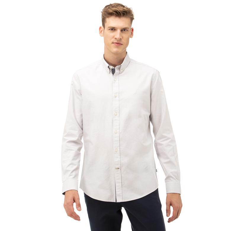 Nautica Erkek Slim Fit Düğmeli Yaka Gri Gömlek