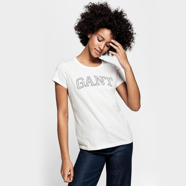 GANT Kadın Krem Rengi Logo Baskılı T-Shirt